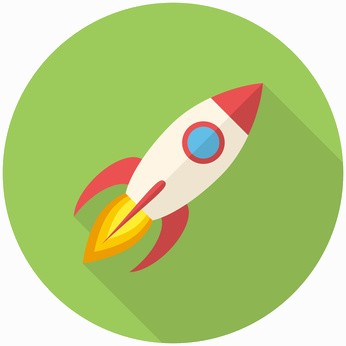 Rocket, modern flat icon with long shadow